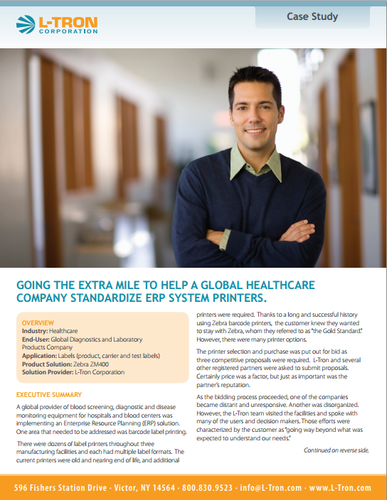 Healthcare Barcode Labeling Case Study with the Zebra ZM400 Printer