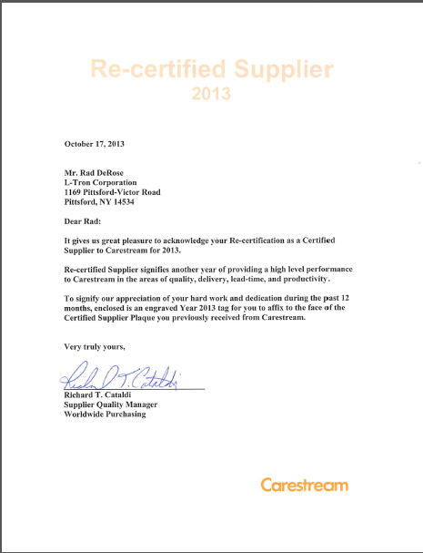 L Tron Named Carestream Health Certified Supplier For Third