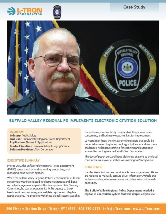 Electronic Citation Case Study with the Buffalo Valley Regional Police Department