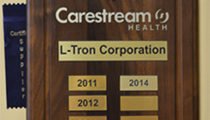 L-Tron Named Carestream Health Certified Supplier for Fourth Consecutive Year
