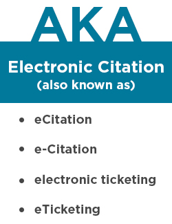 Electronic Citation, also known as eCitation, e-Citation, electronic ticketing, and eTicketing