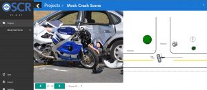 Example of the OSCR360 software for use at a crash scene