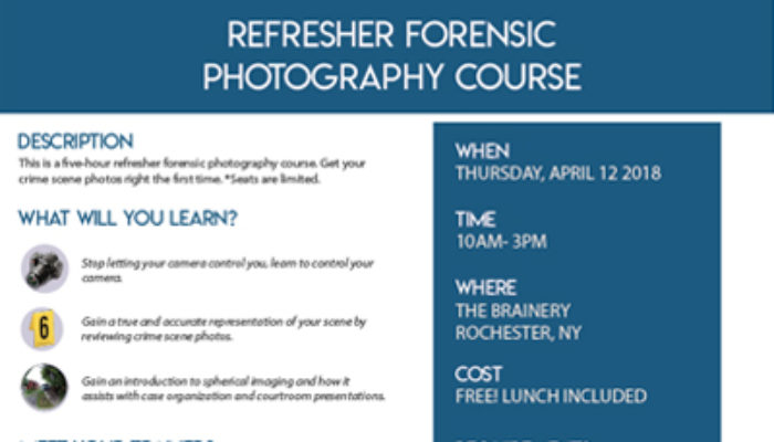 Refresher Forensic Photography Training Course Flyer