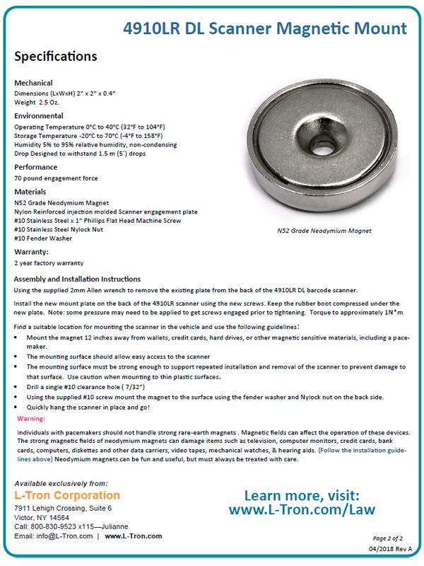 4910lr dl reader magnetic mount datasheet p2