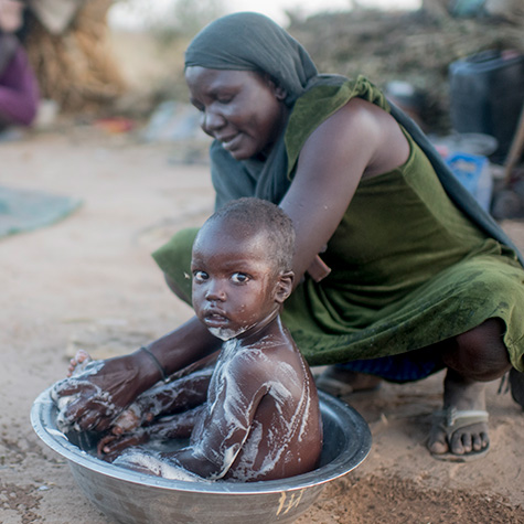 bathing in clean water