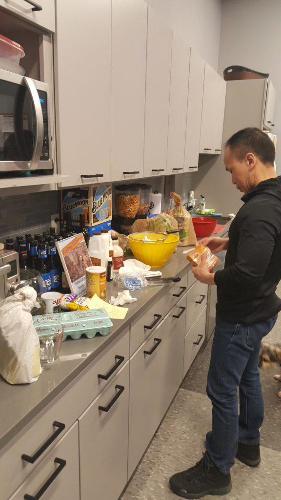 Tom making pancakes for National Pancake Day