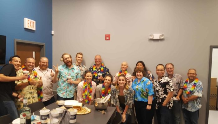 The L-Tron Team Celebrated Nate's 30th Birthday with a Hawaiian Luau (and carrot cake).