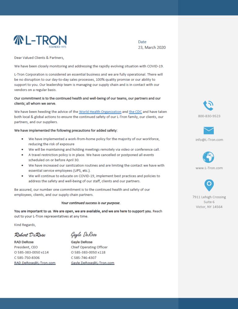 L-Tron COVID-19 Updates