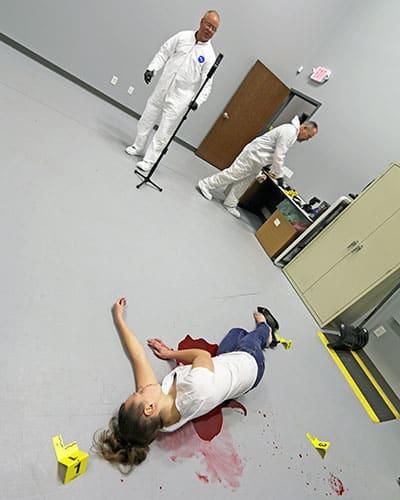 mock homicide scene