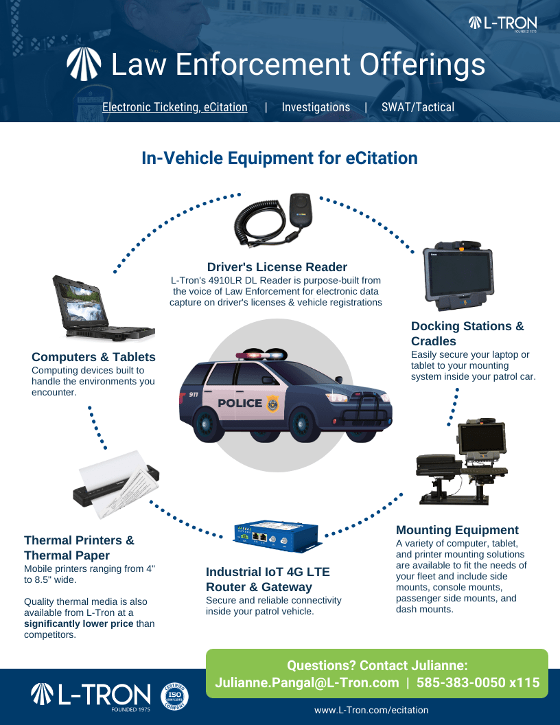 Law Enforcement Offerings P1: In-vehicle equipment for ECitation